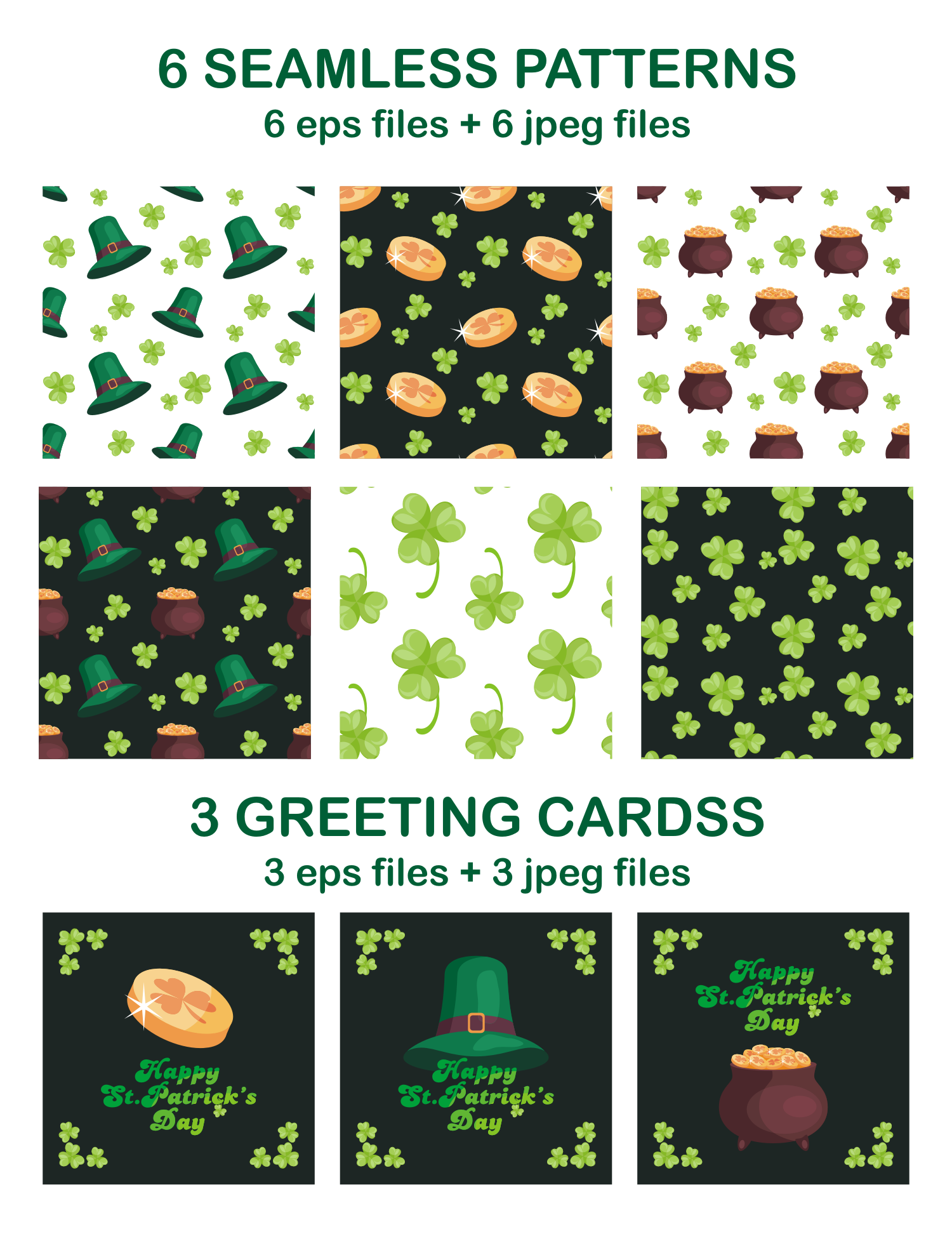 Happy st.Patricks Day. Vector clip arts and seamless patterns. example image 3