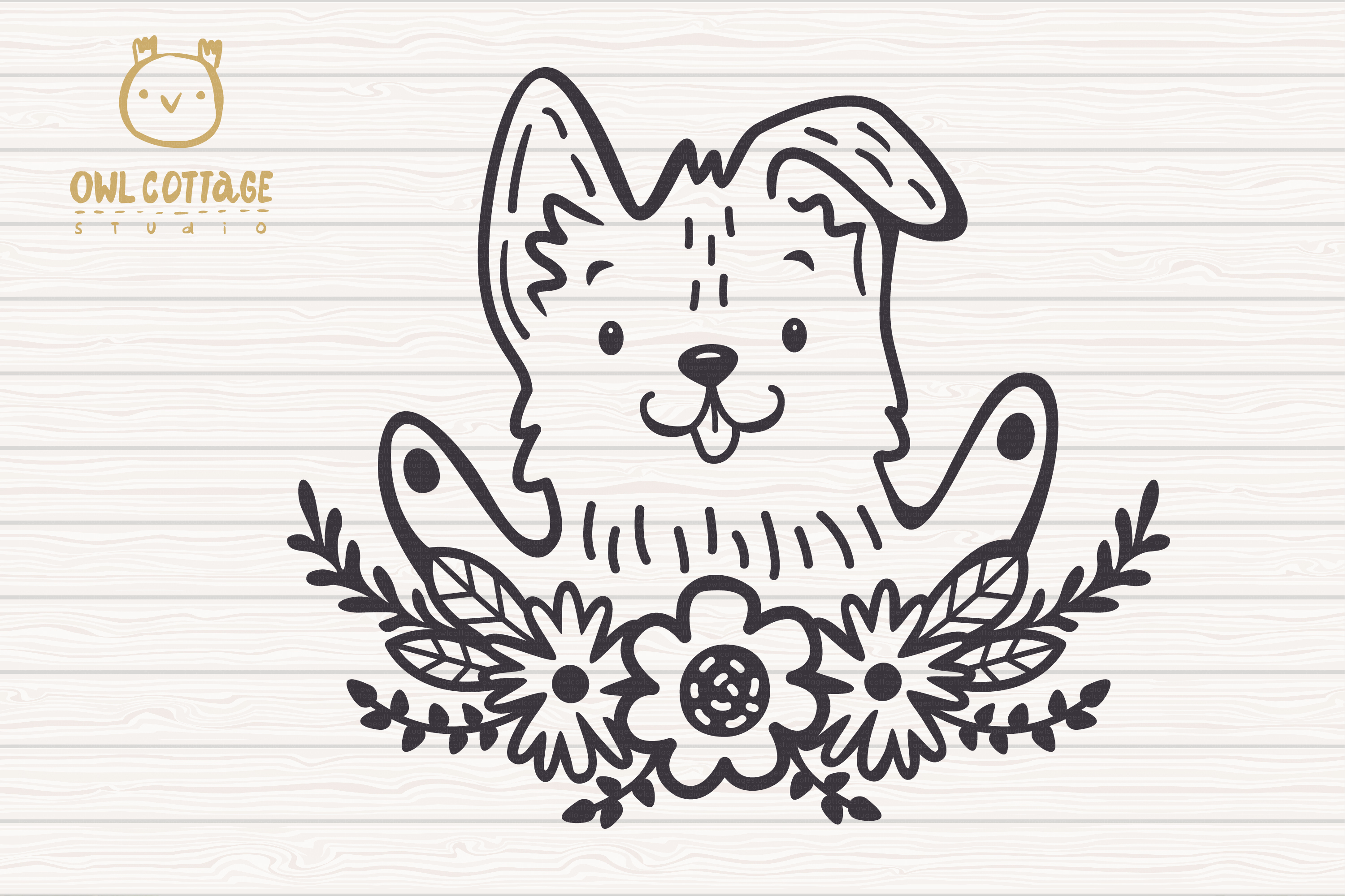 Valentine Dog svg , Puppy with floral decor Svg, Valentine's example image 4