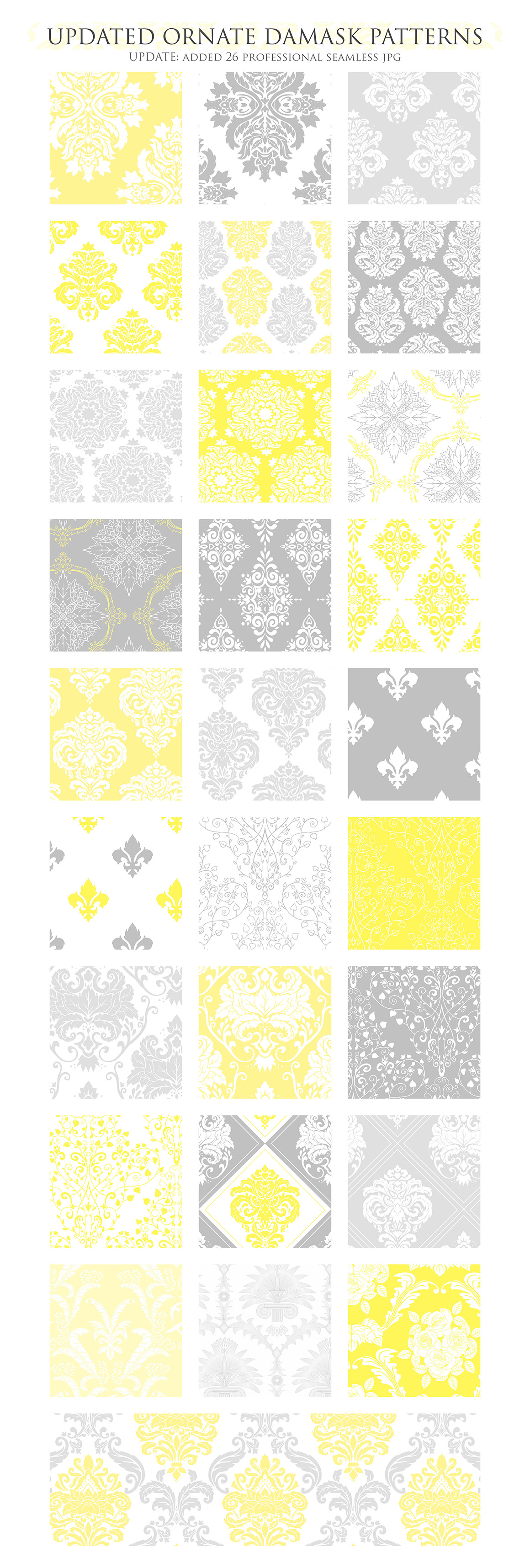 28 Yellow and Gray Damask Patterns - Seamless Digital Papers Bundle example image 3