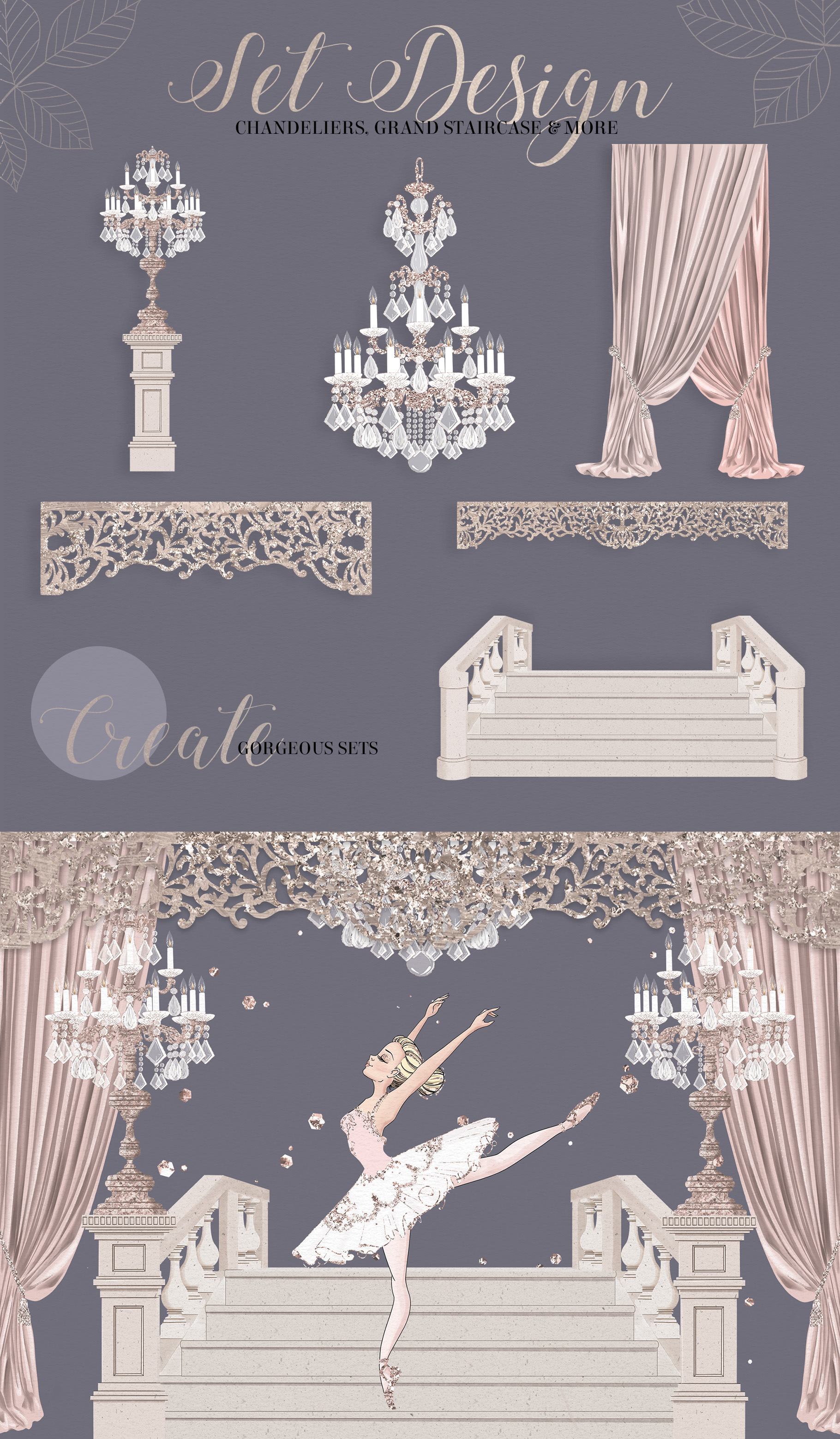 The Grand Ballerina Clipart Collection example image 5