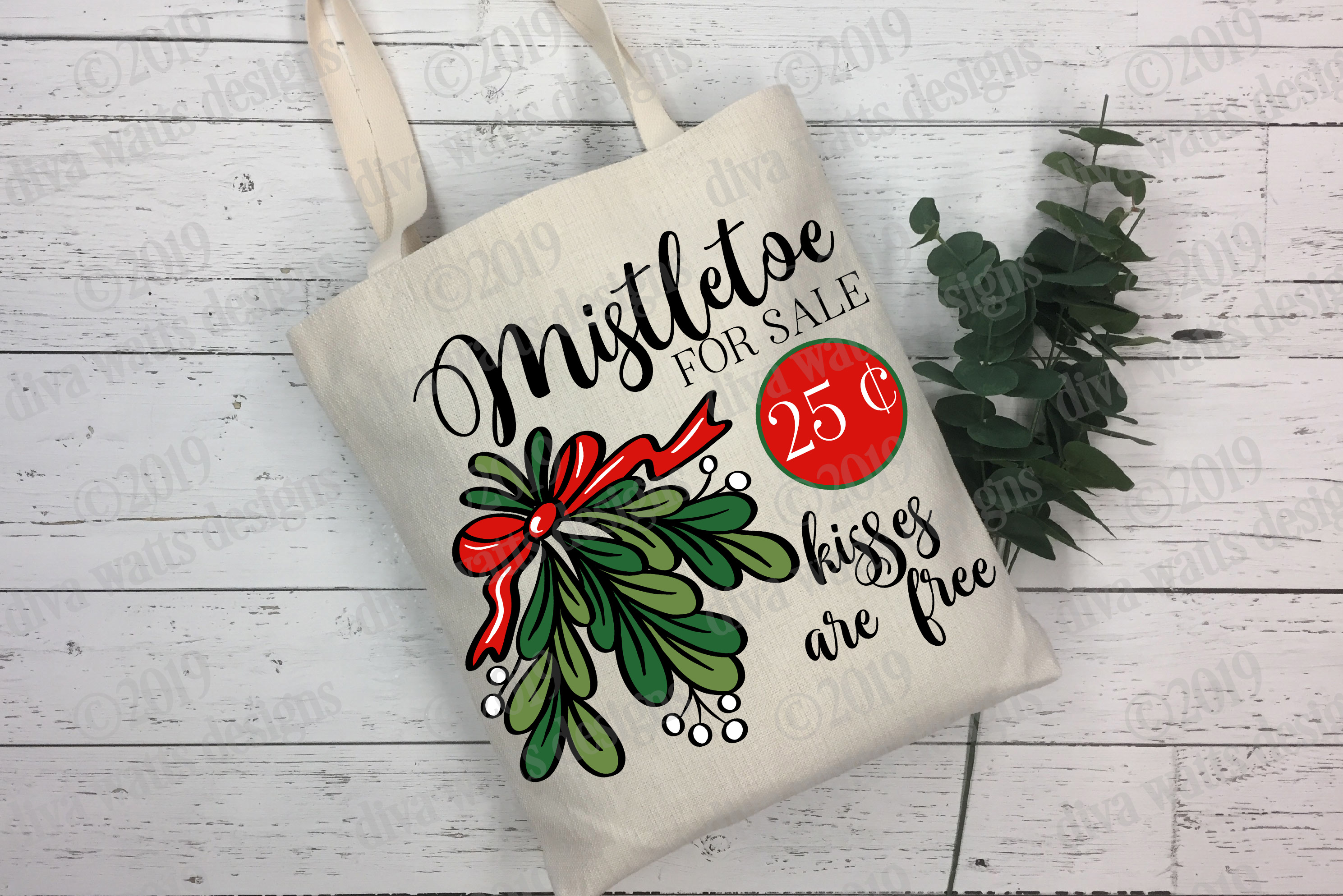 Mistletoe For Sale Kisses Are Free Sign Cutting File example image 2