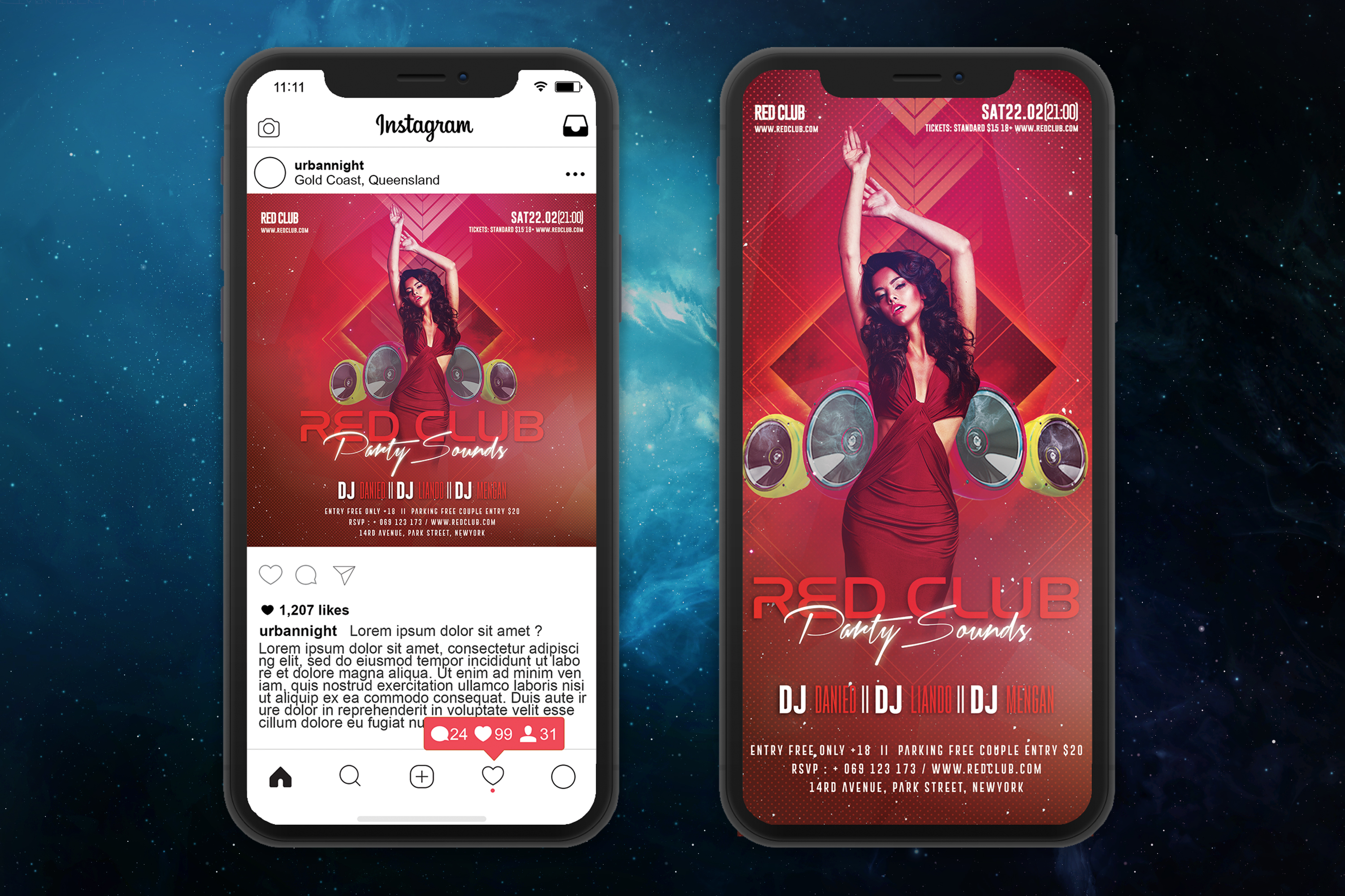 Red Club Party Sounds Flyer Template example image 4