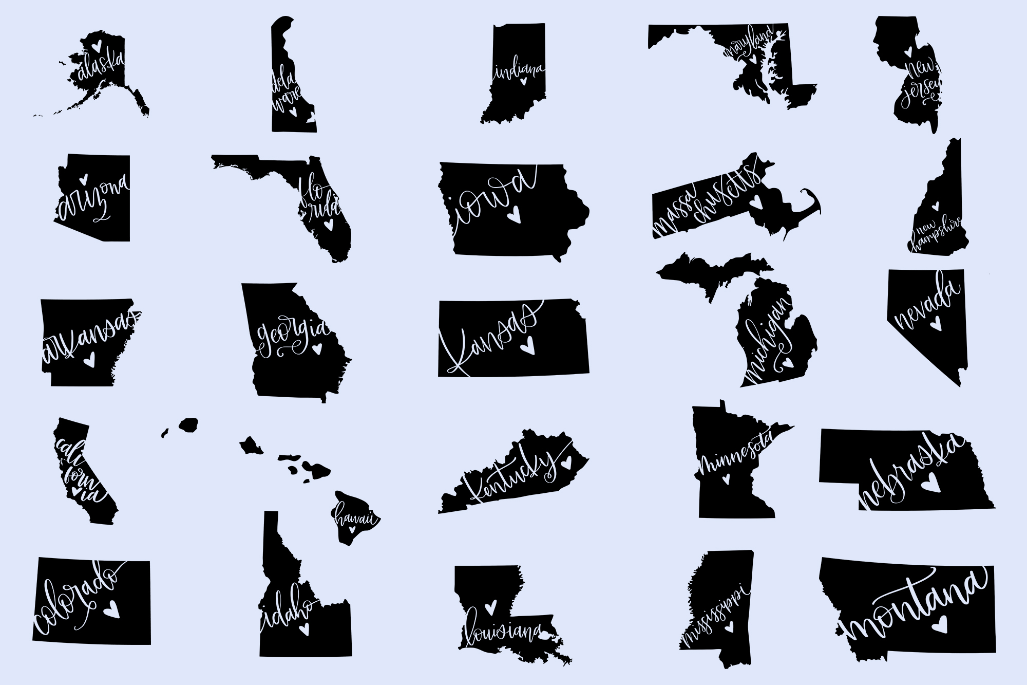 The US State Love SVG Bundle example image 2