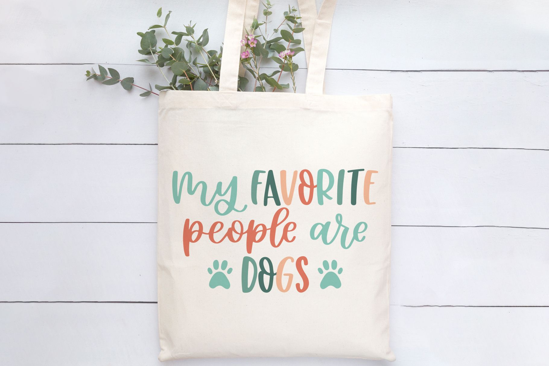 Favorite People Are Dogs, Hand Lettered SVG Cut File example image 2