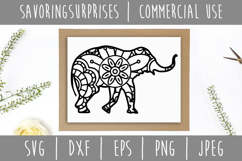 Elephant Mandala Zentangle SVG, DXF, EPS, PNG, JPEG example image 2