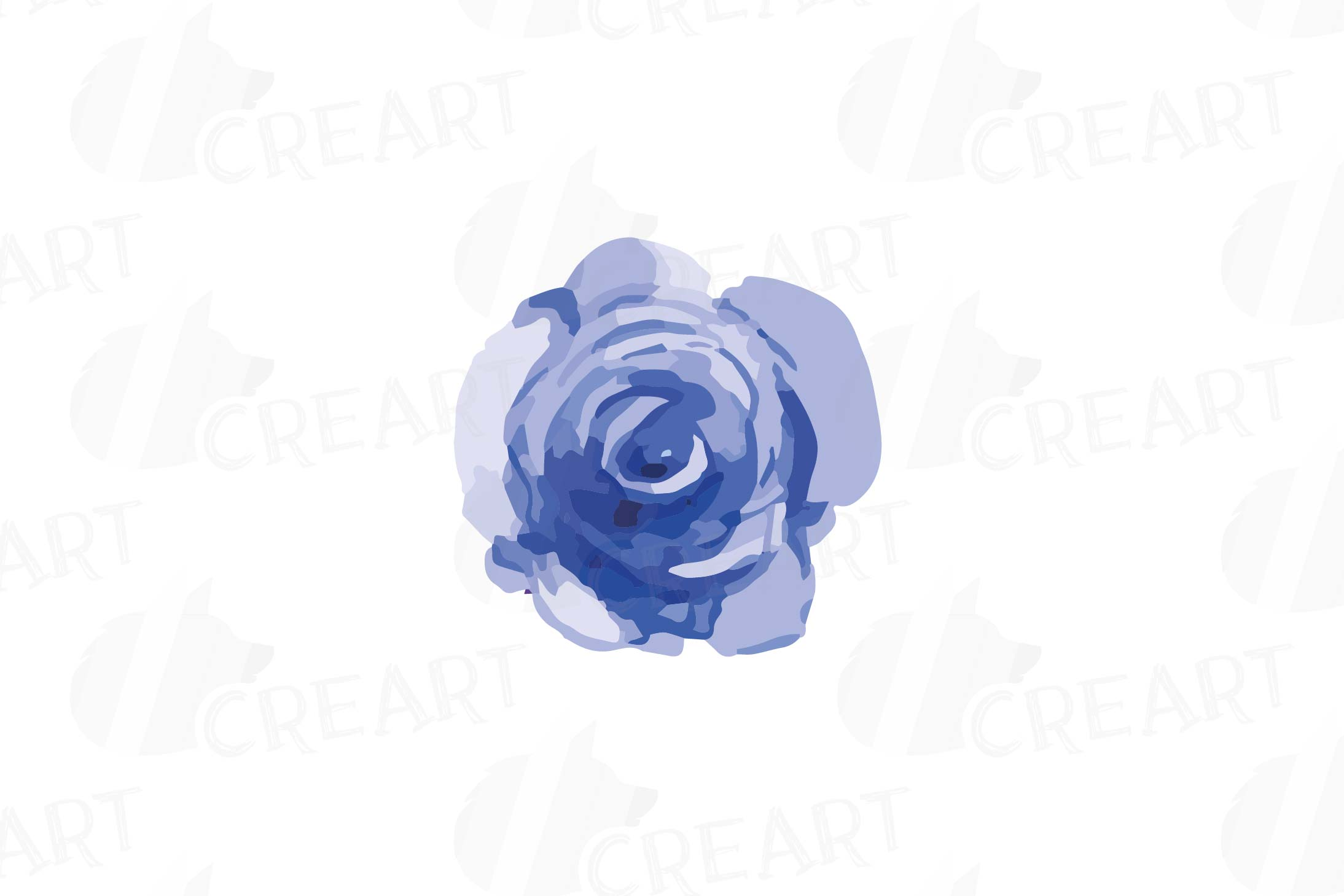 Watercolor Pink and Blue Roses and leafs clip art pack, png example image 6