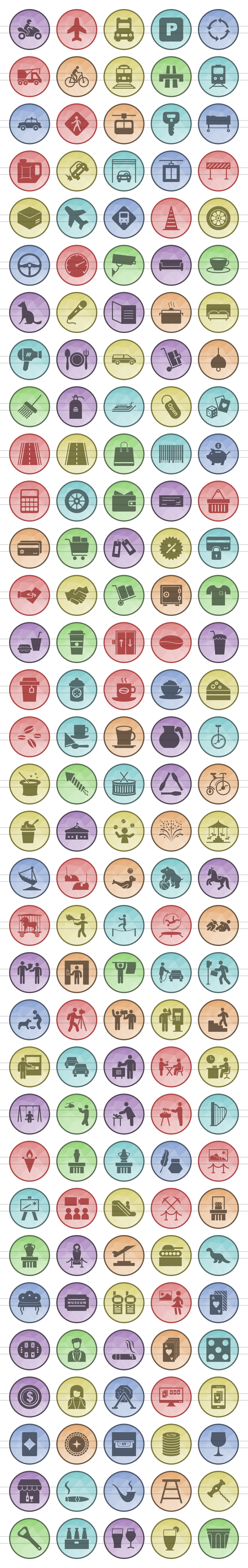 166 City Life Filled Low Poly Icons example image 2