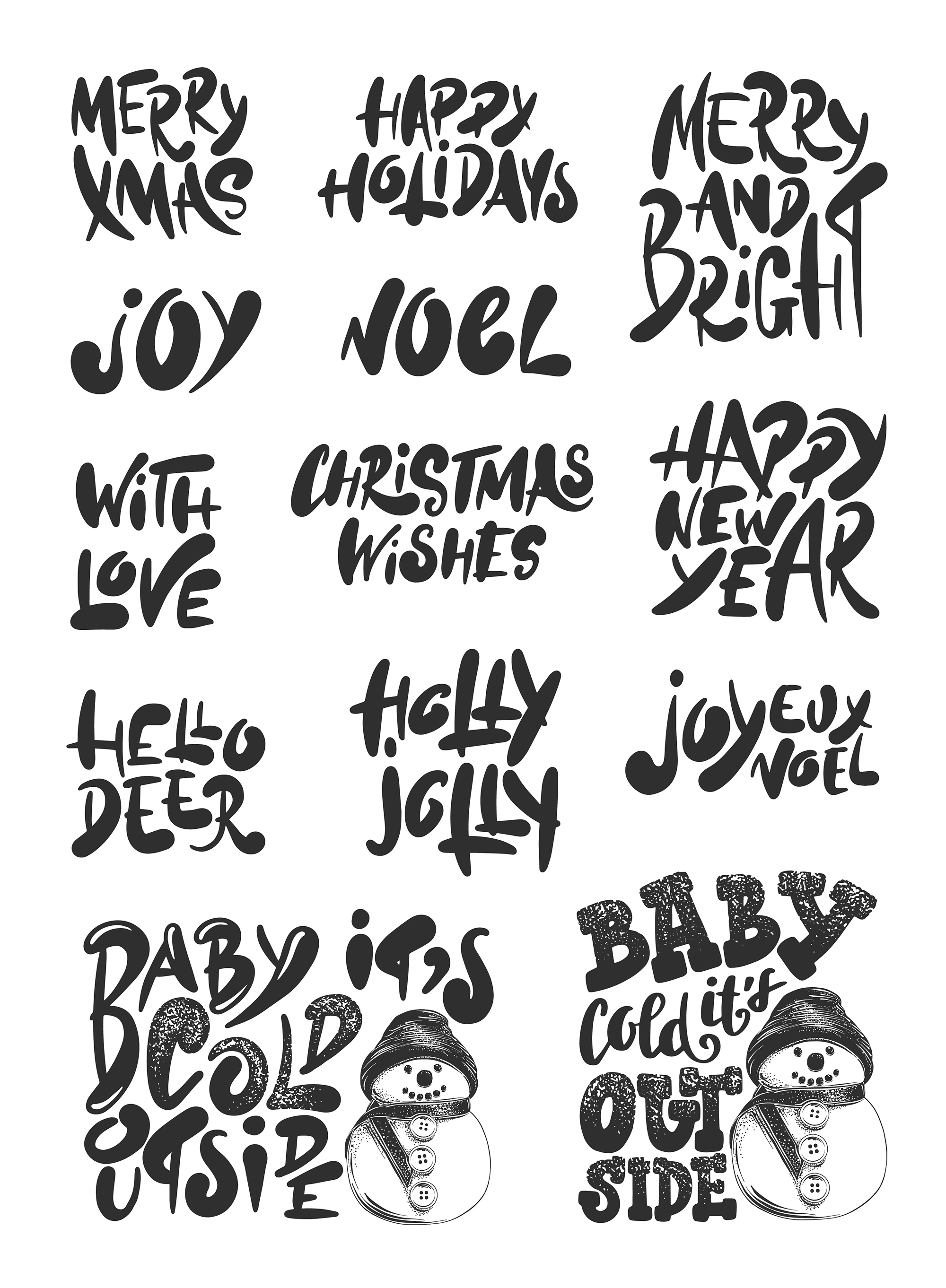 Winter holidays hand drawn art set example image 2