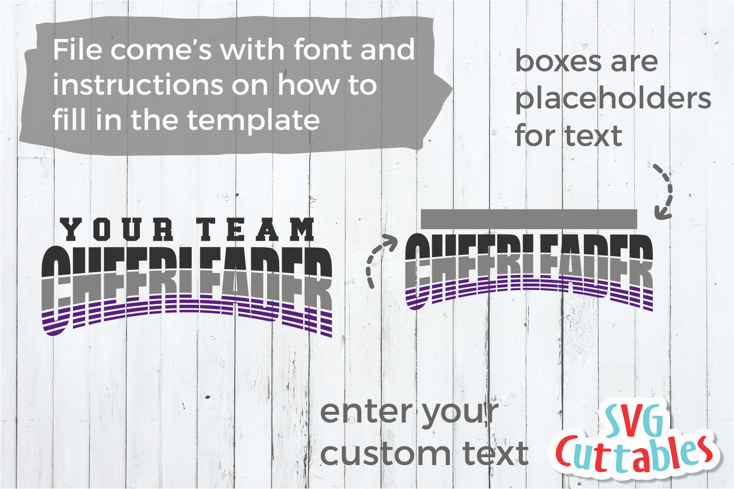 Cheer Template 0040 | SVG Cut File example image 2