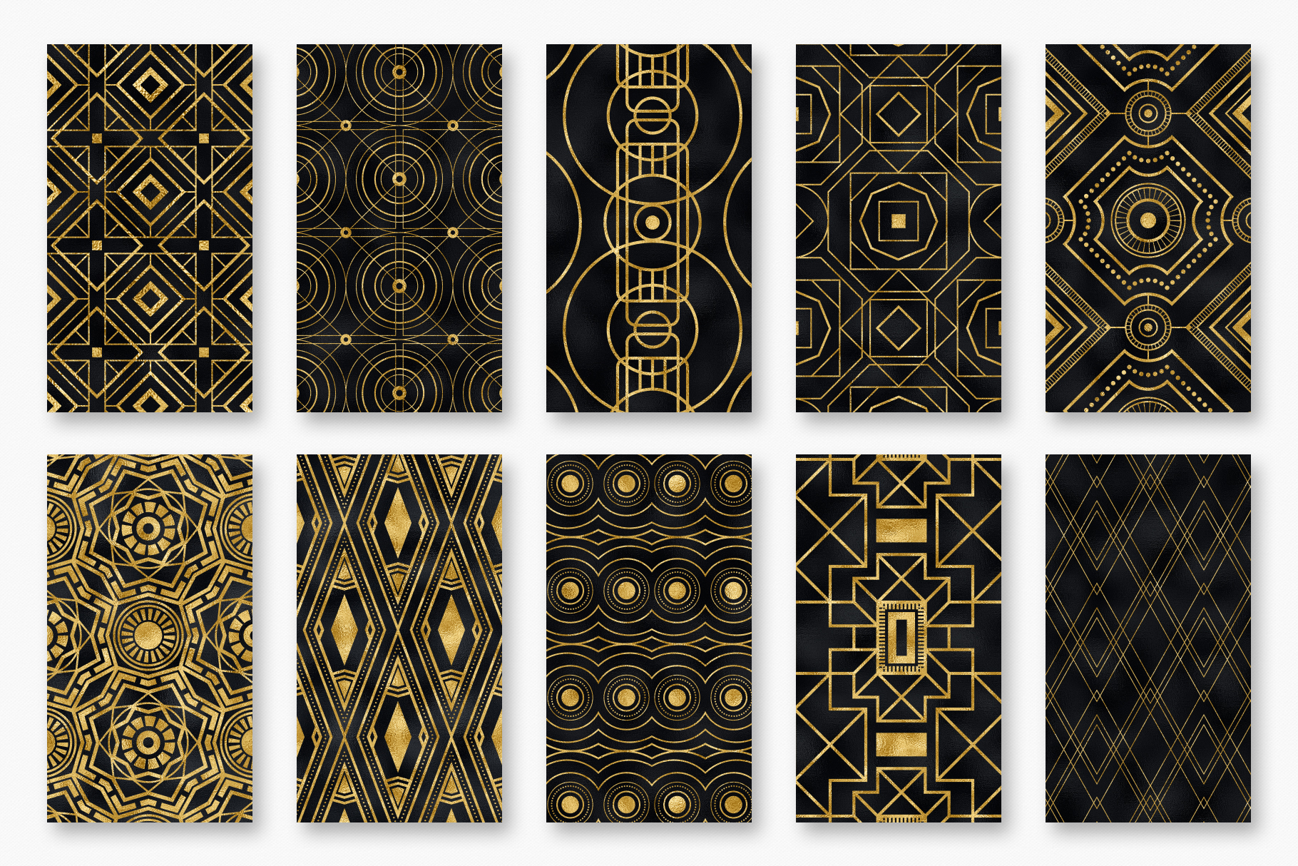 Seamless Art Deco Patterns - Black and Gold Digital Papers example image 14