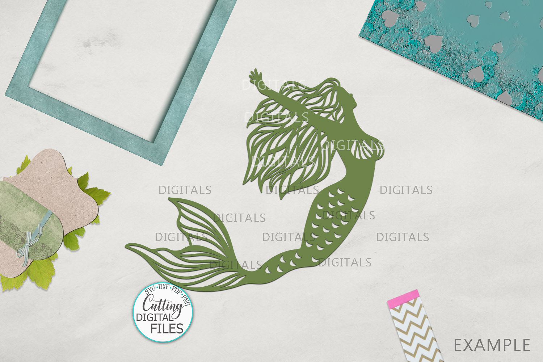 Mermaids Silhouette Bundle svg dxf machine cut templates example image 7