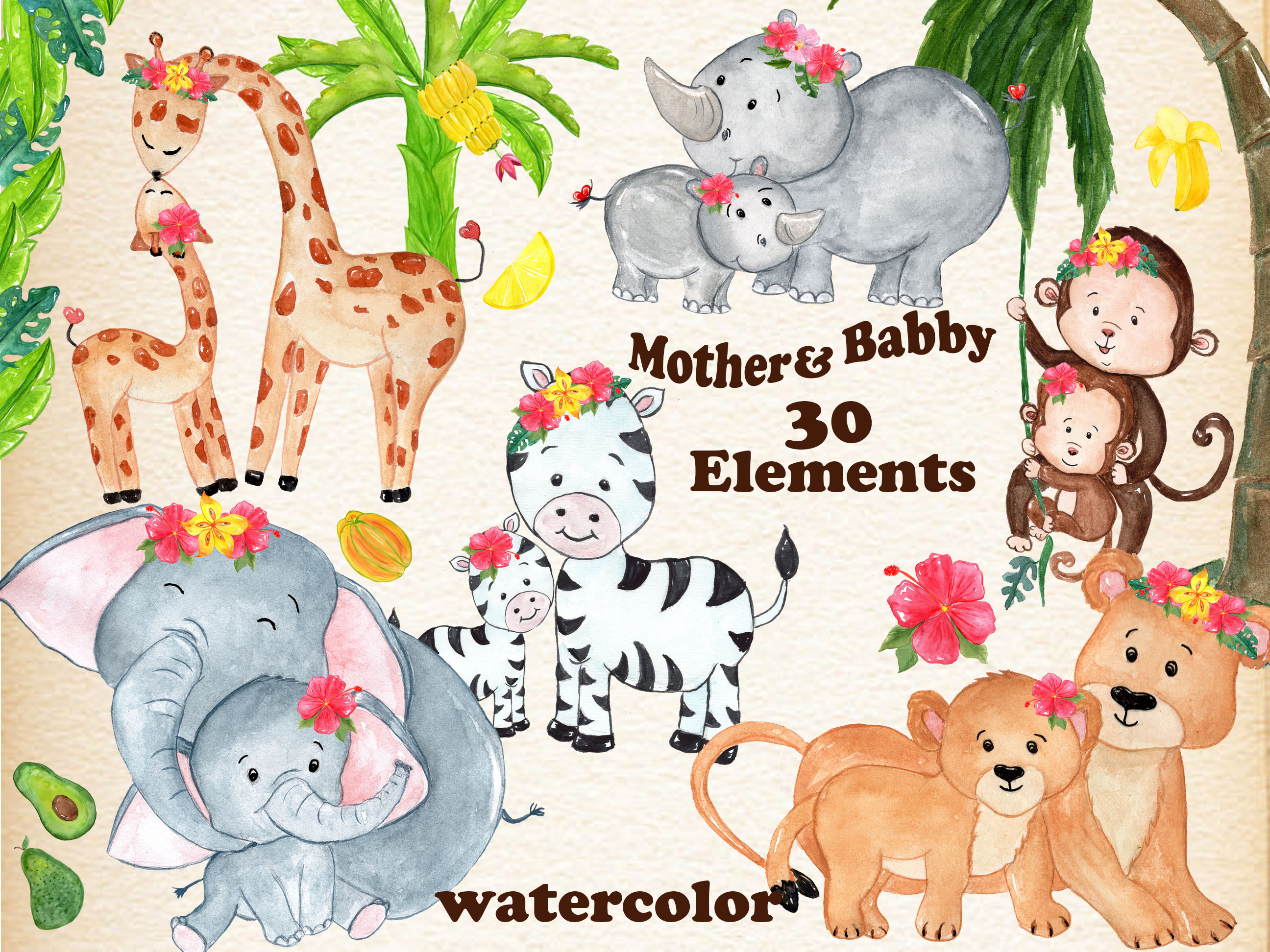 Mother and baby animals clipart (37058) | Illustrations ...