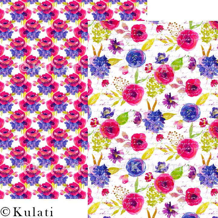 Bohemian Summer Watercolor Floral Patterns example image 3
