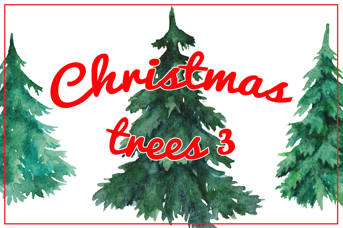Watercolor Christmas trees 3 example image 1