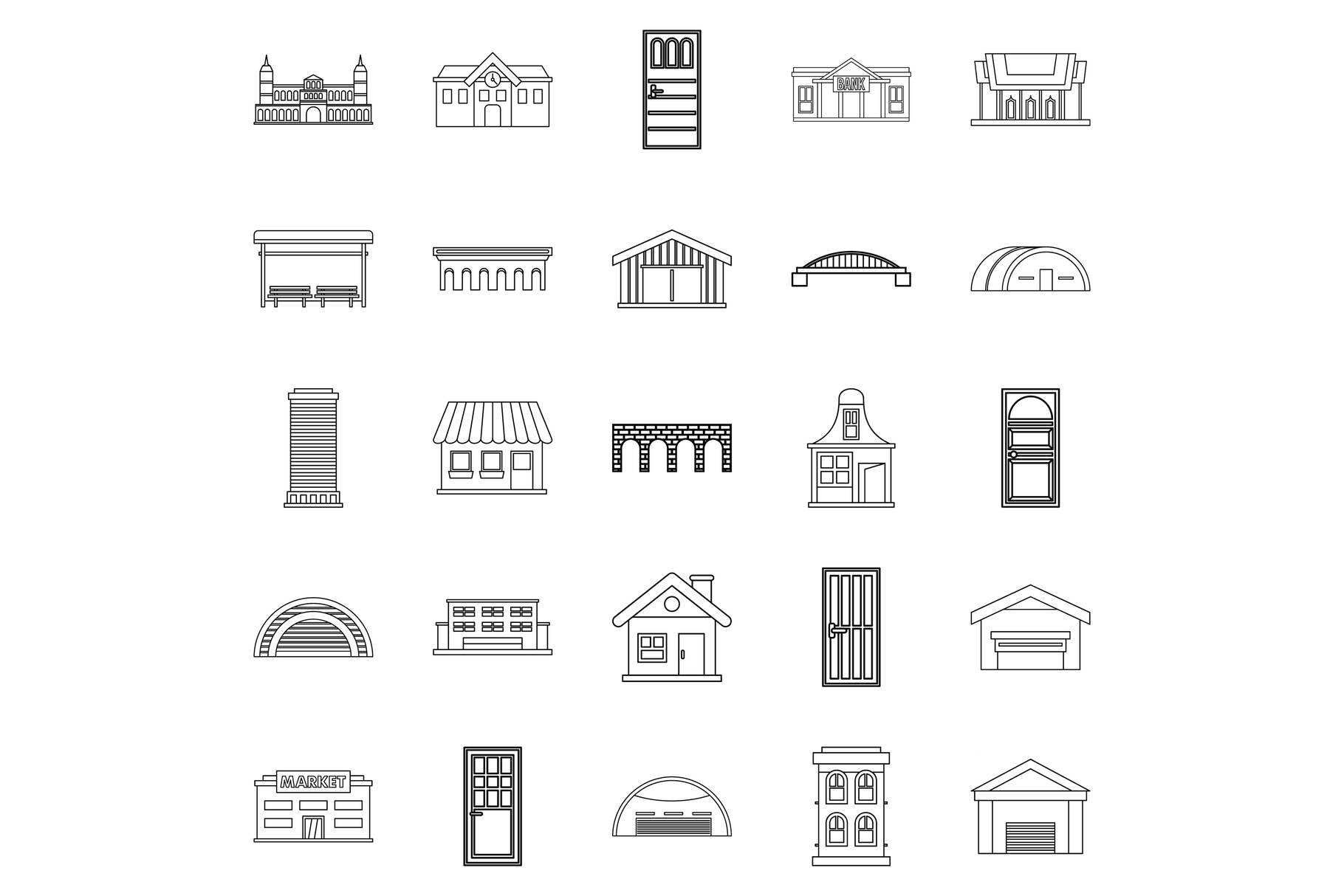 Design icons set, outline style example image 1