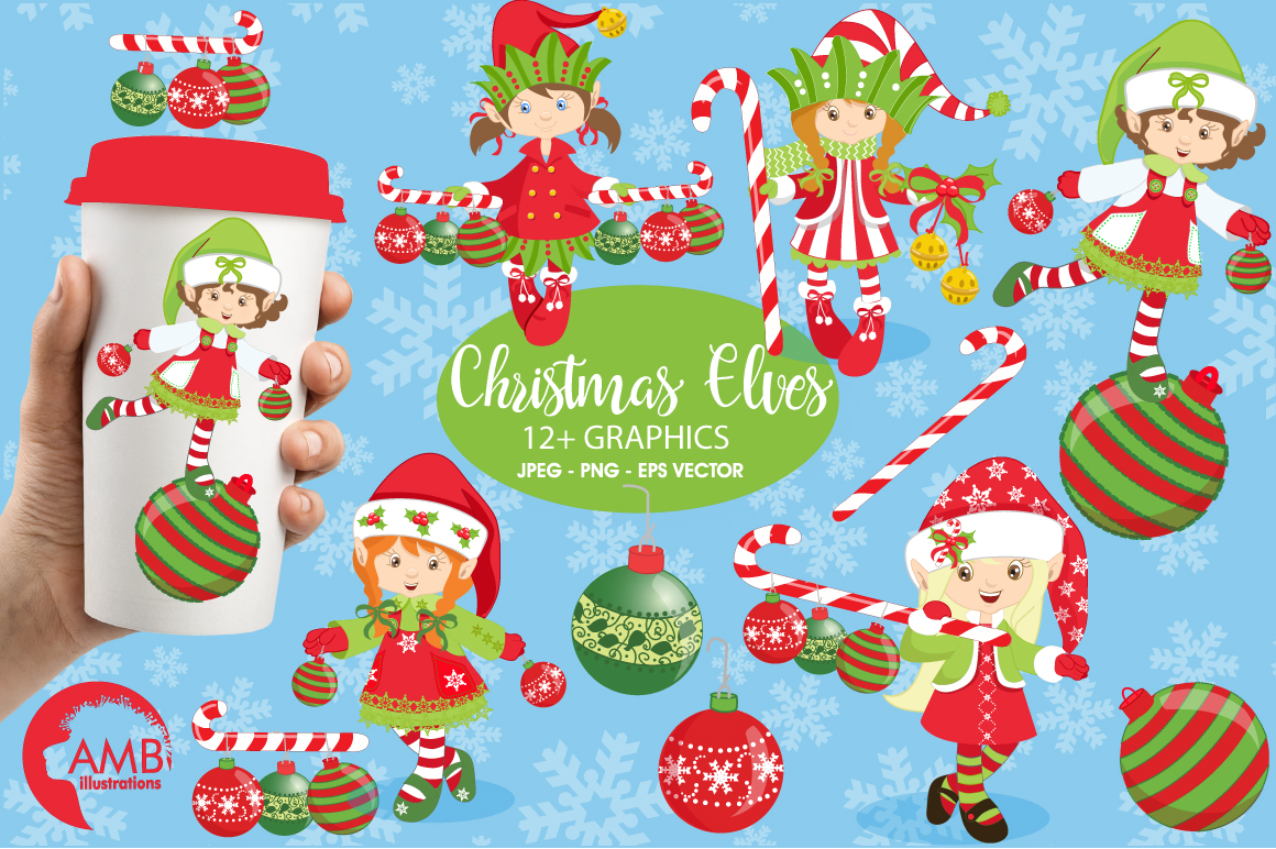 Christmas elves clipart, graphics, illustrations AMB-195 example image 1