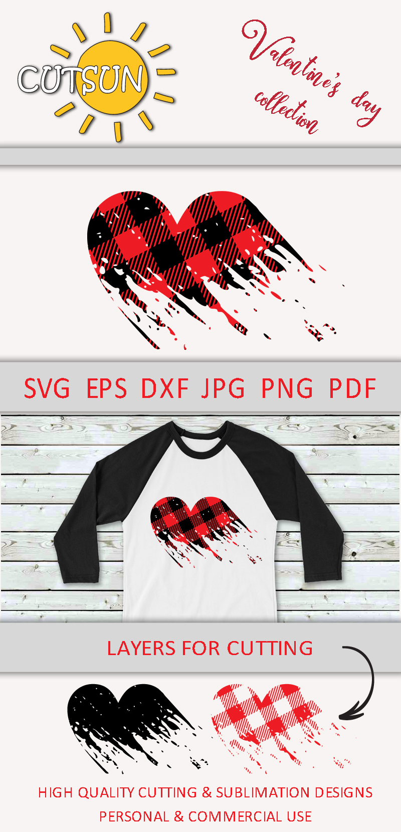 Valentine SVG| Plaid Heart Distressed SVG | Valentines day S example image 5