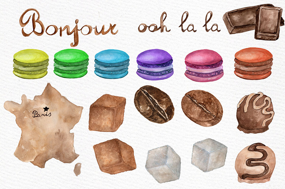 Watercolor Paris cafe clipart example image 3