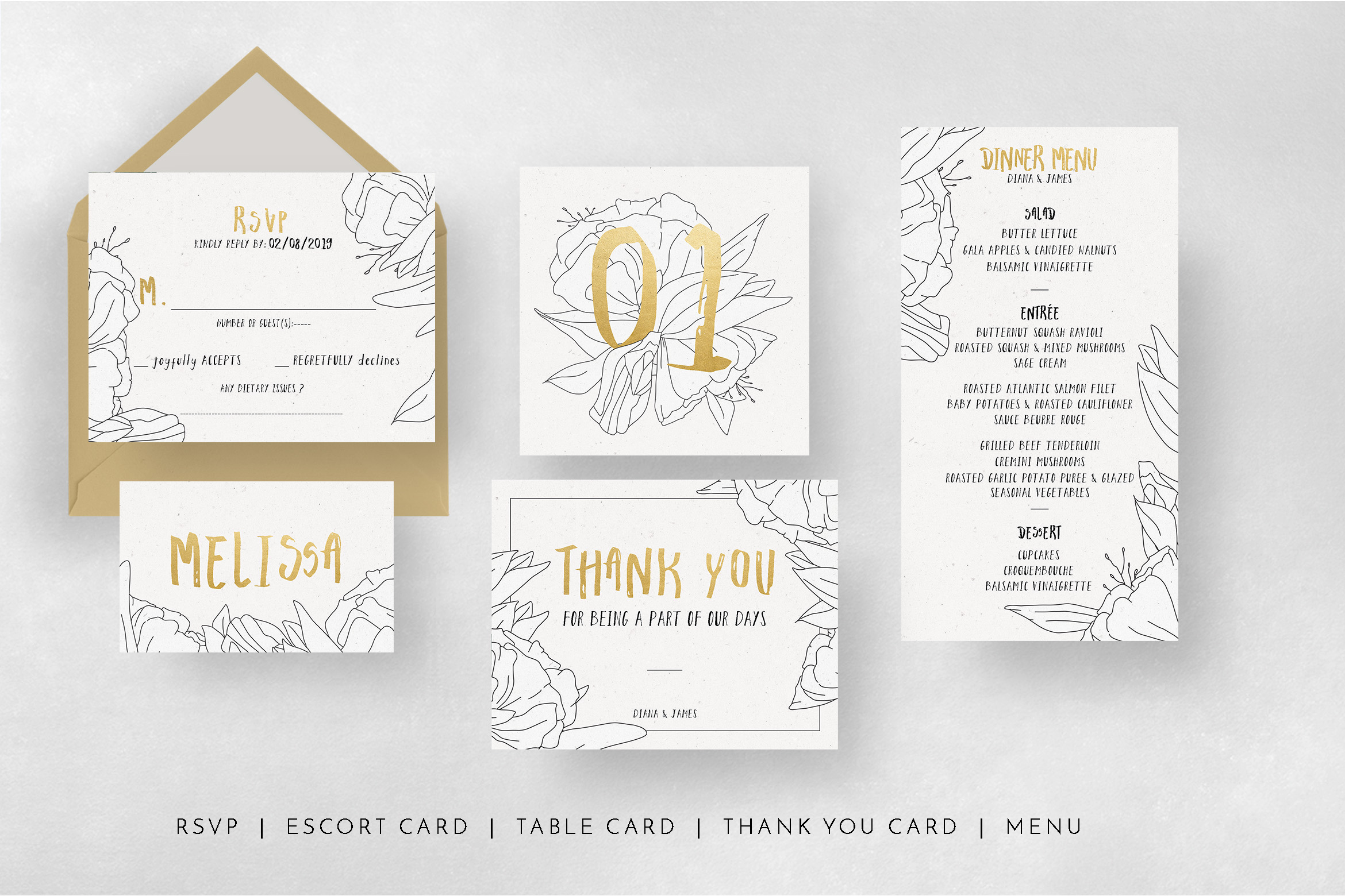 Simple Floral Outline Wedding Suite example image 6