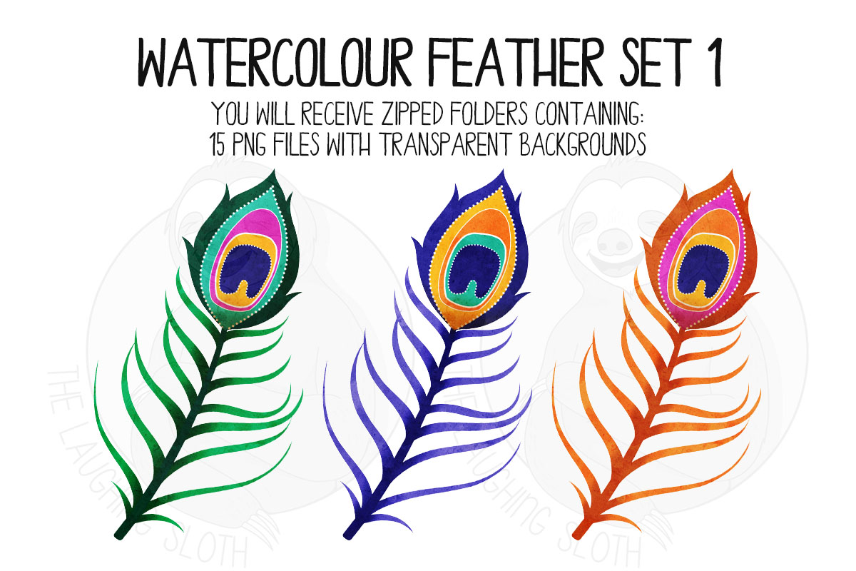 Watercolor Bright Feather Clip Art Set 1 example image 6