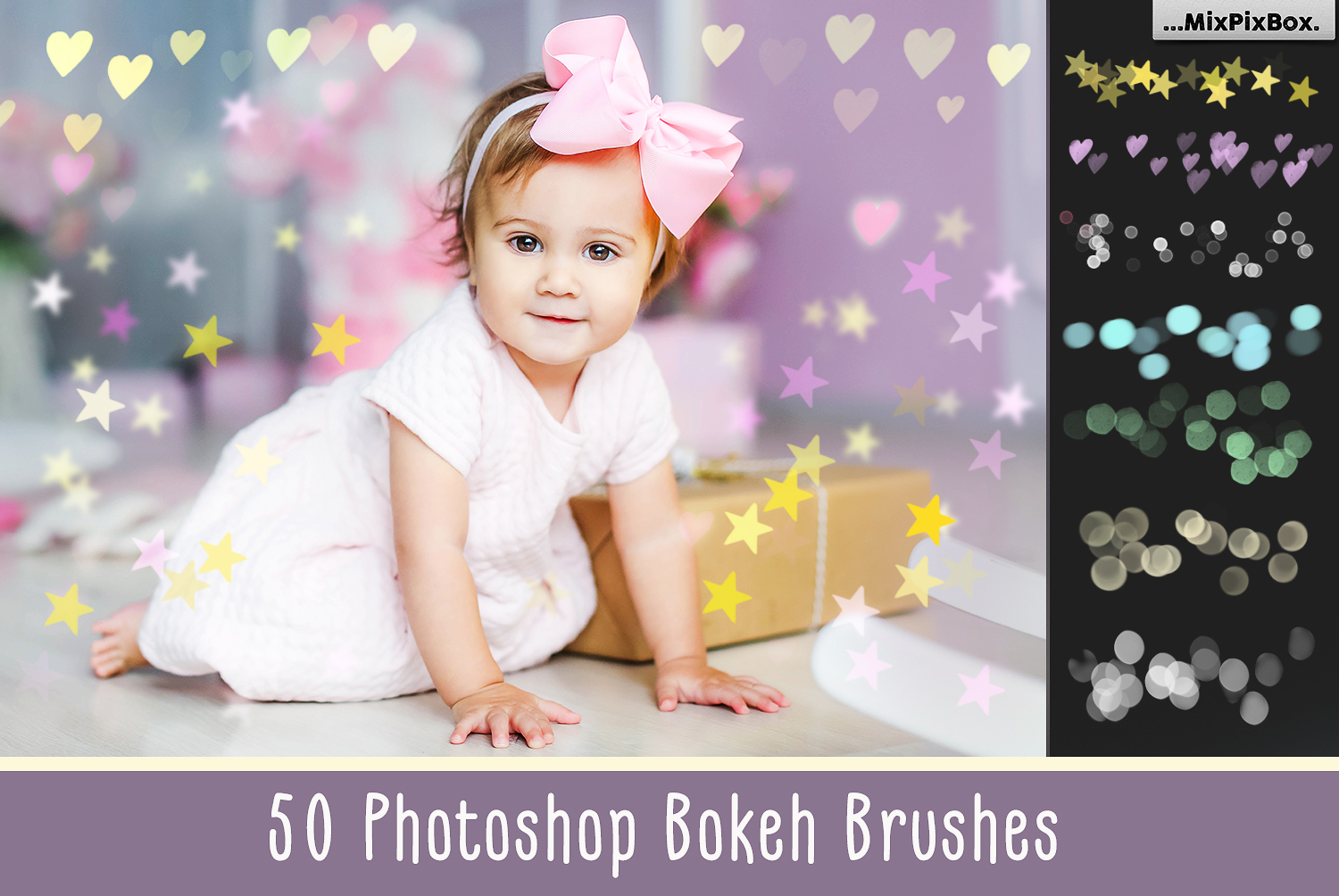 50 Bokeh Photoshop Brushes example image 1