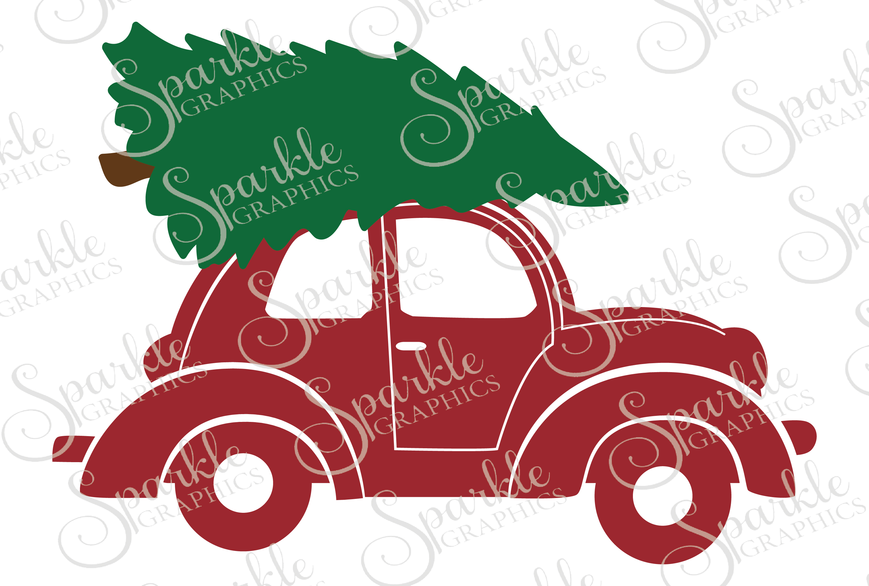 Christmas Trees Car File Set Svg Eps Dxf Png