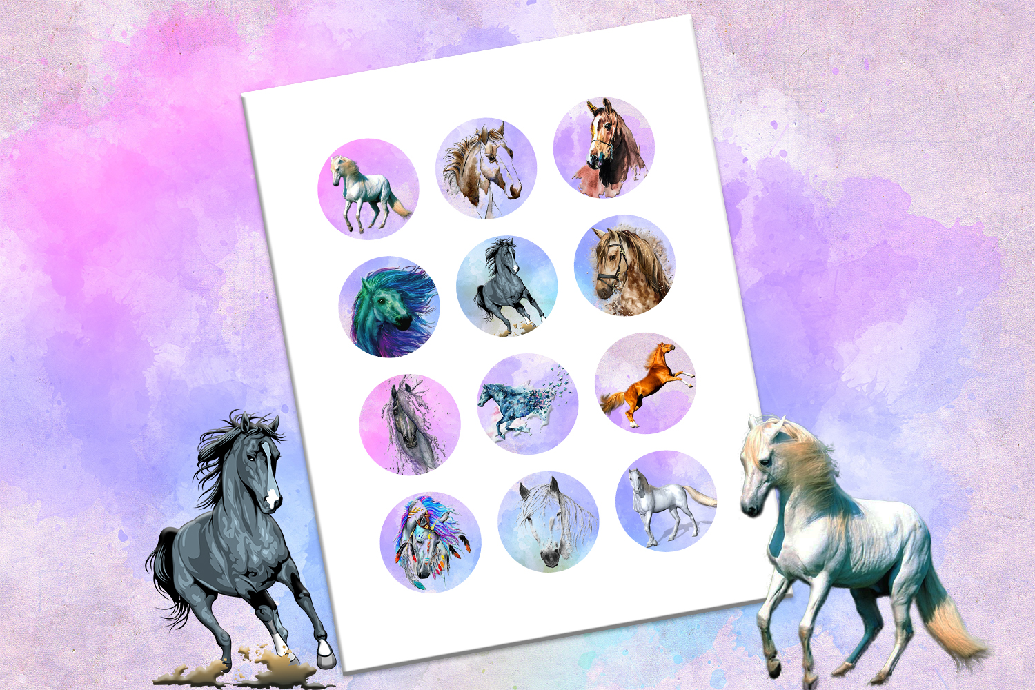 Horses, Watercolors, Illustrations, BLACK FRIDAY SALE, 50OFF example image 7