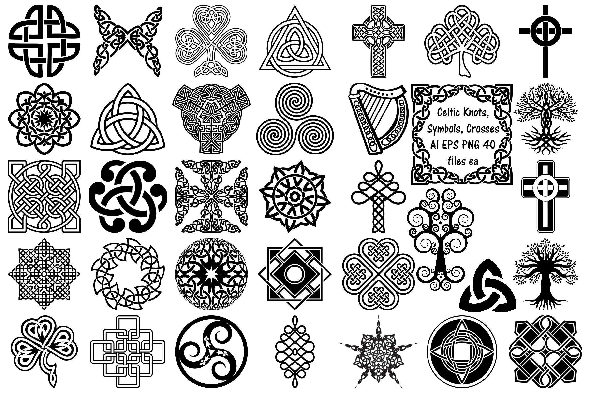 Celtic Symbols, Knots & Crosses AI EPS PNG, Irish Clip Art example image 1
