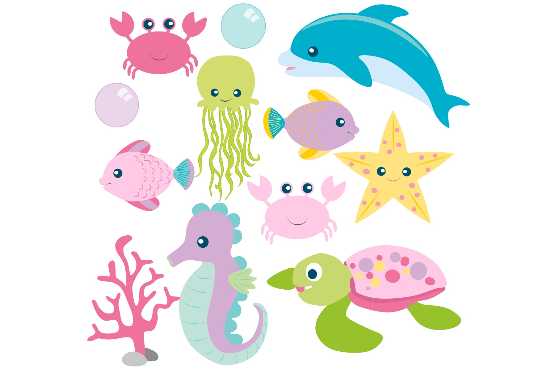 Girls Sea Animal Clipart and Digital Papers Set example image 3