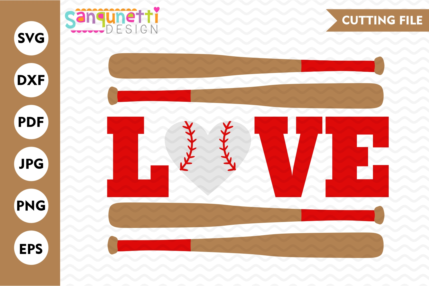 Love Baseball SVG file, spring sports cutting files example image 1