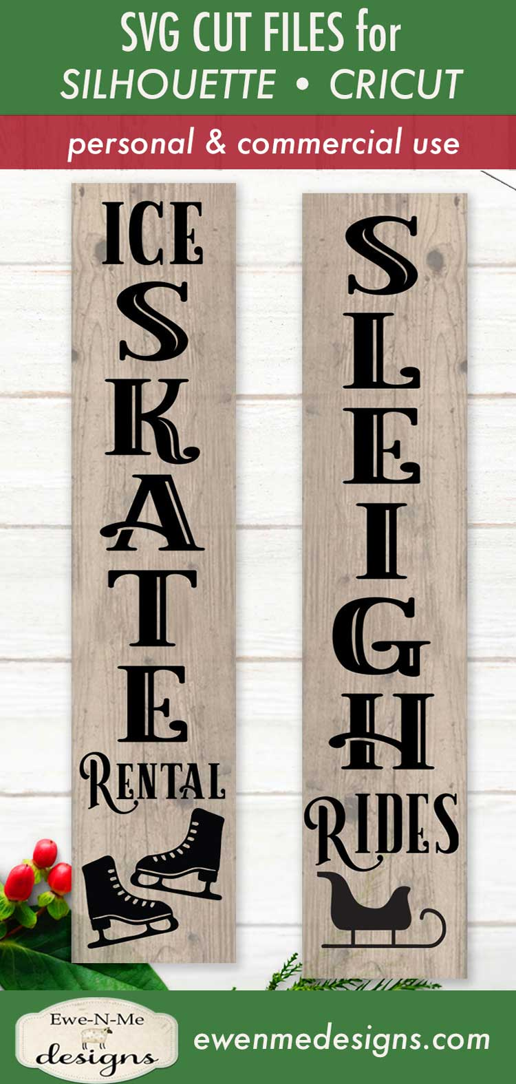 Skate Rental - Sleigh Rides - Christmas - Vertical SVG example image 3