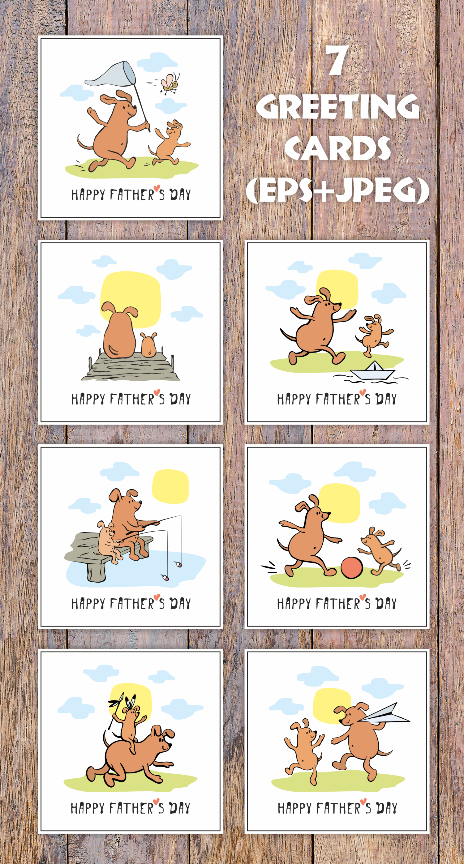 Funny dogs. Fathers day greeting cards set example image 2