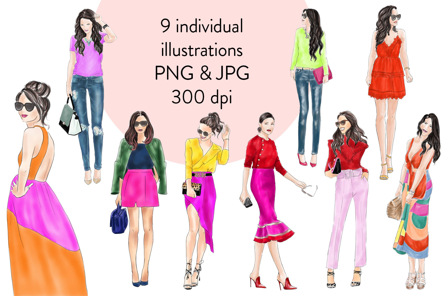 Watercolor clipart - Girls in Brights -  Fashion illustration example image 2