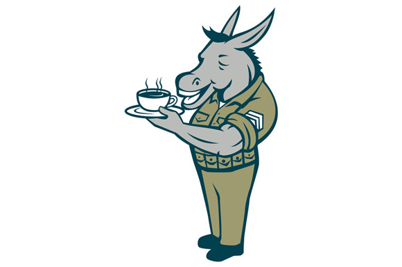 Donkey Sergeant Military Standing Drinking Coffee Cartoon example image 1