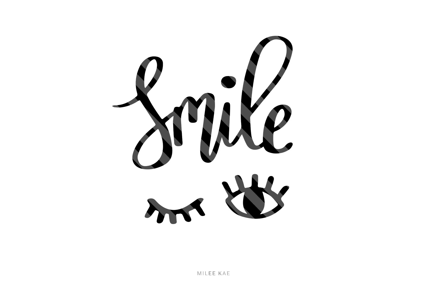 Smile, Cutting file, SVG, PNG, EPS, DXF example image 1