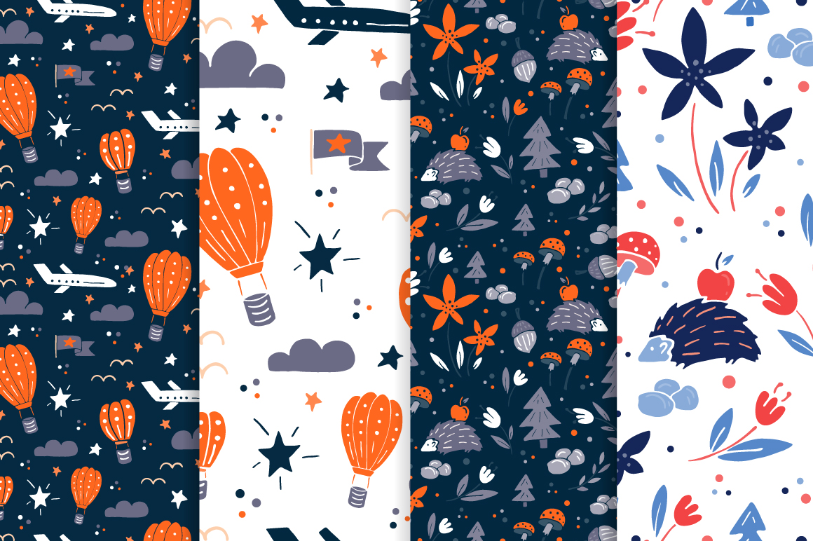 Meadow - 50 vector seamless patterns example image 2