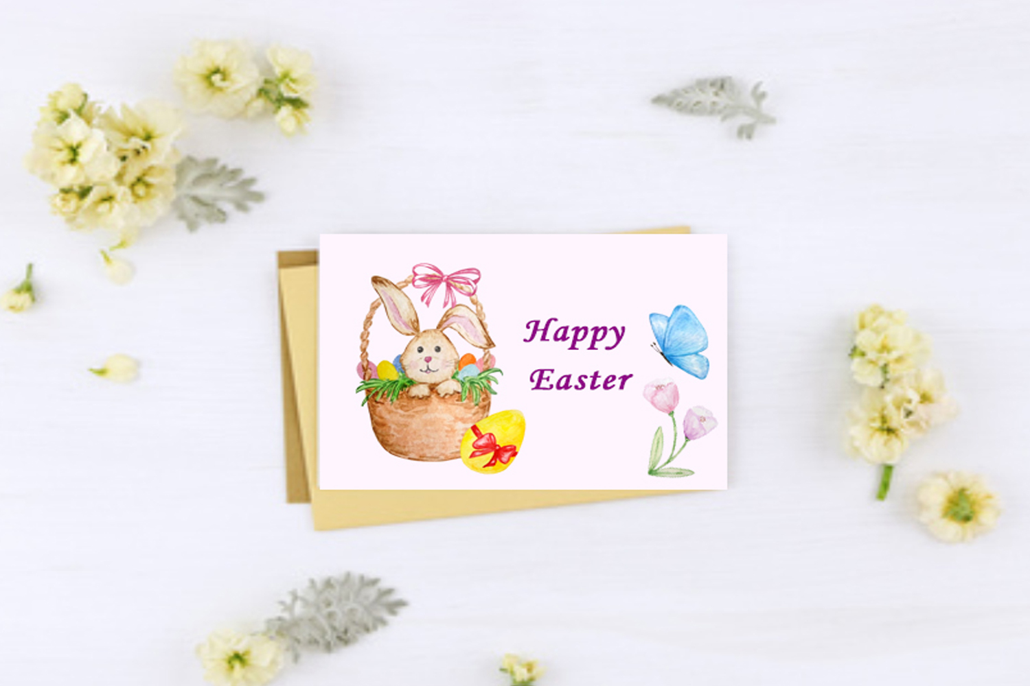 Watercolor Easter Cute Bunny Clipart Set example image 5