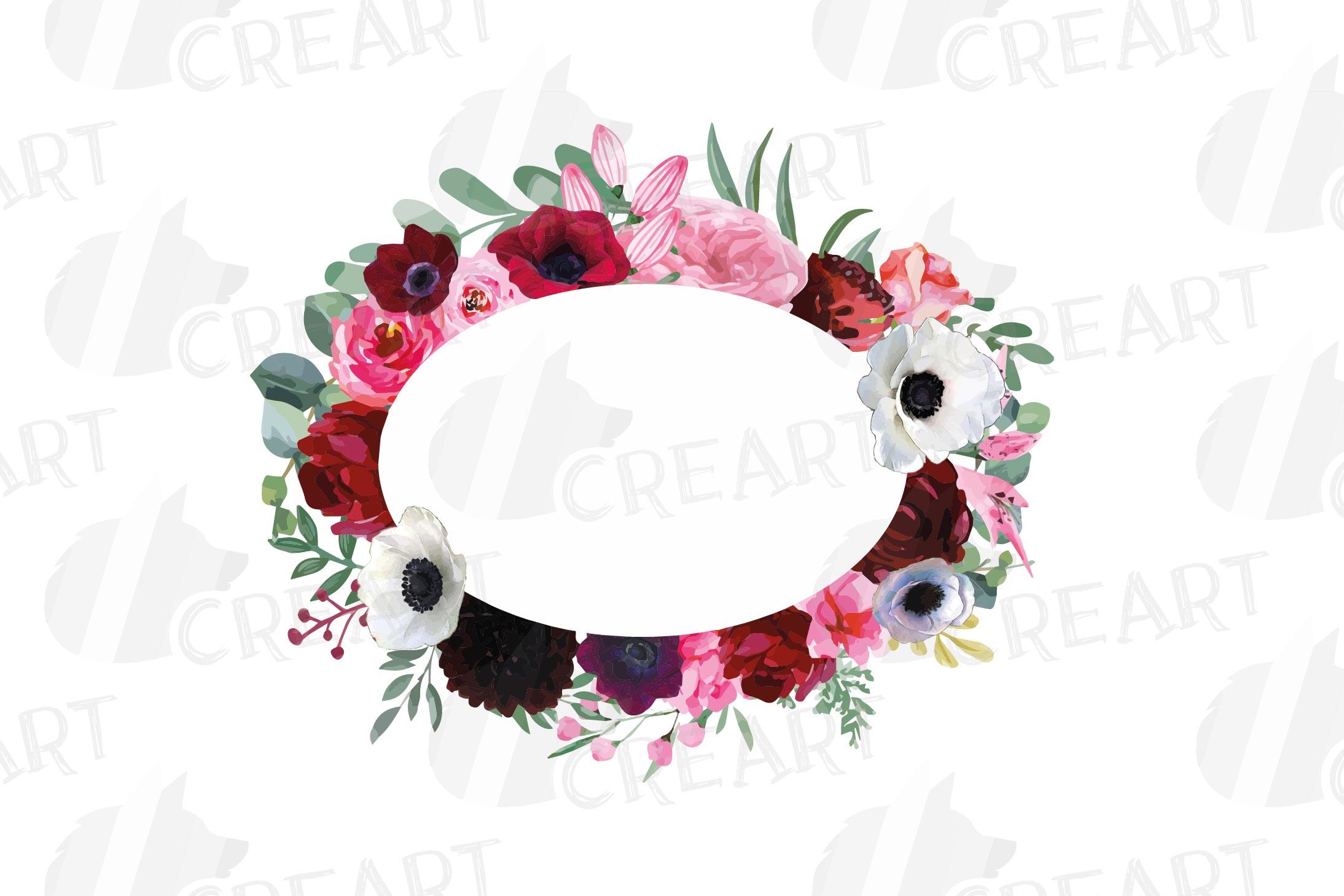 Watercolor elegant floral borders, rose, anemone frames example image 10