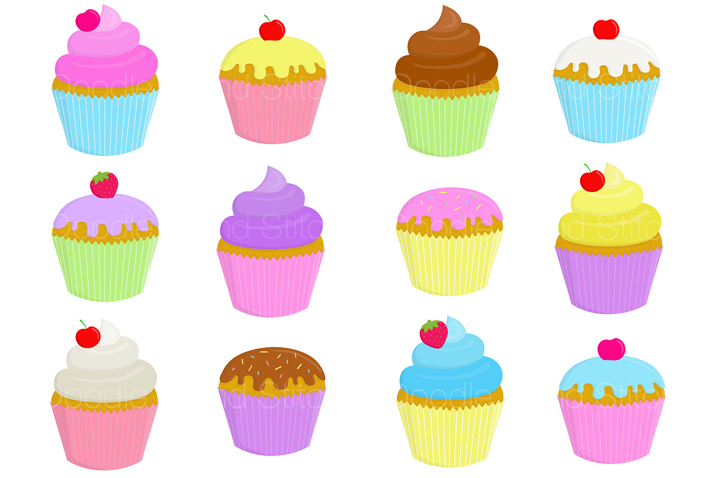Cupcake Clipart Illustrations example image 2
