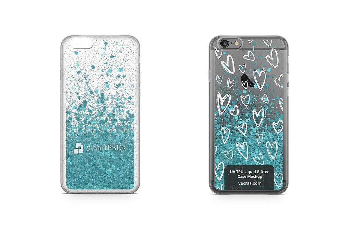 Apple iPhone 6 Plus UV TPU Liquid Glitter Case Mock-up example image 1