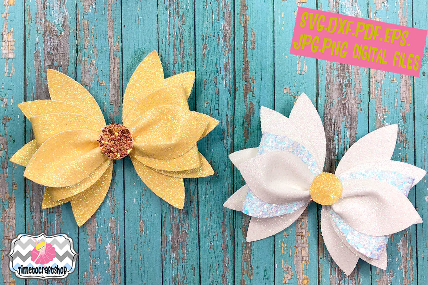 SVG, PNG, DXF, PDF, JPEG Flower Hair Bow Template Bundle example image 5