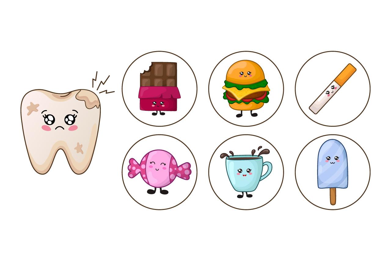 Cartoon kawaii teeth healthy habits example image 3
