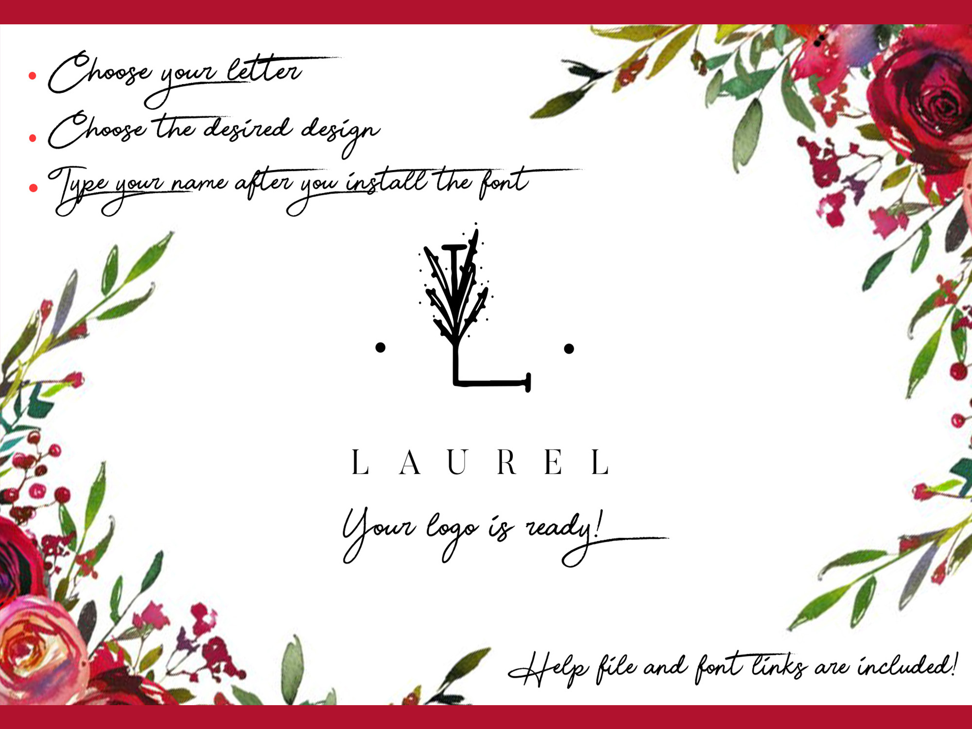 MINIMAL FLORAL LETTER AND LOGO KIT example image 9