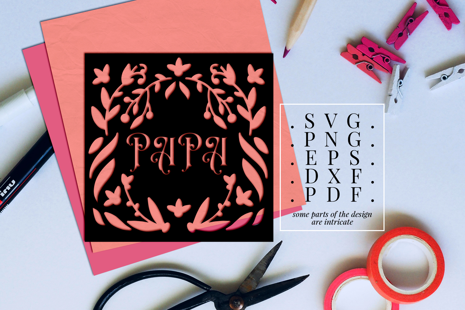 Papa Papercut Template, Family Clip Art, SVG, PDF, DXF example image 2
