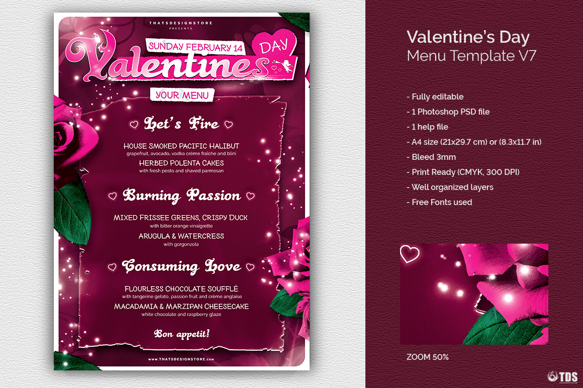 Valentines Day Menu Template V7 example image 1