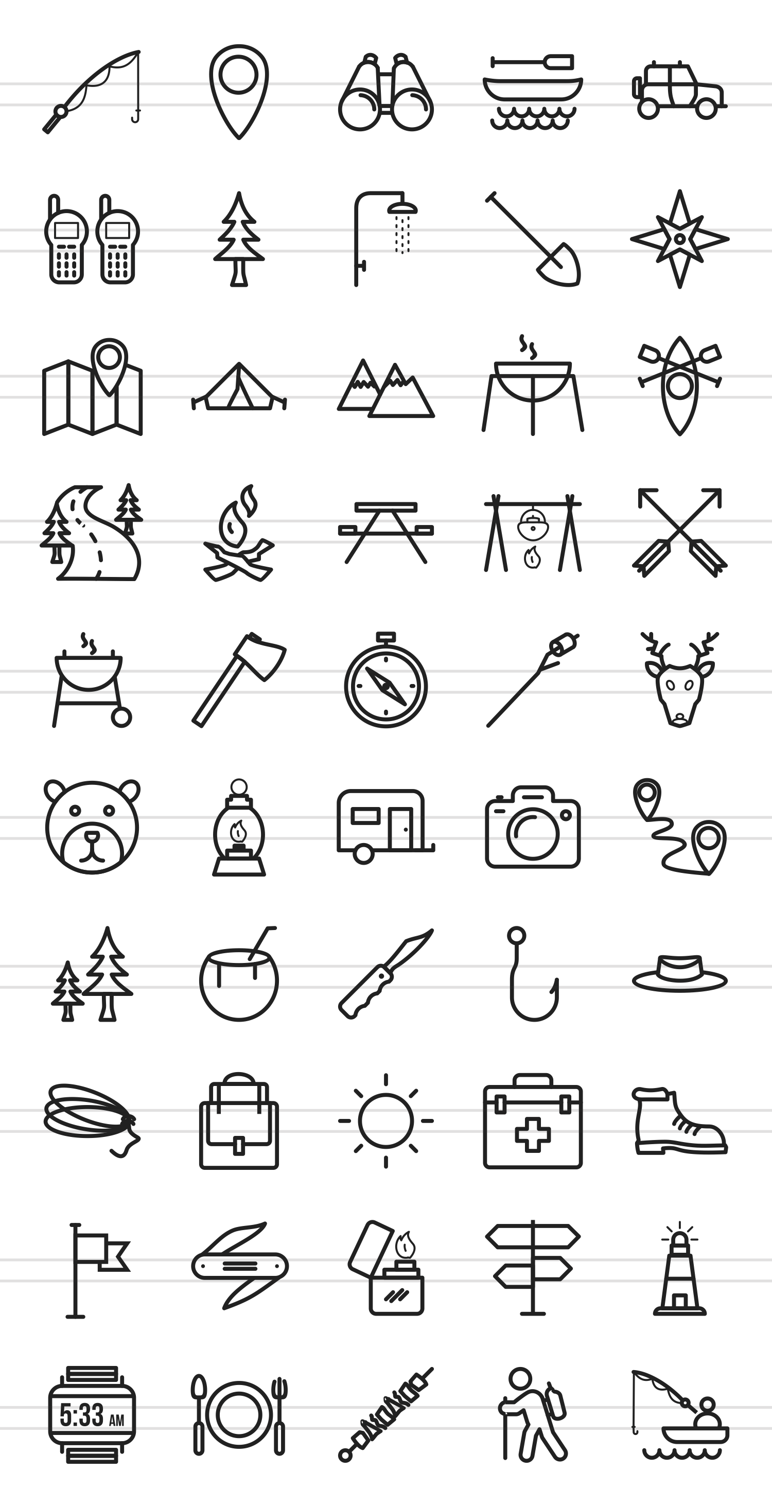50 Camping Line Icons example image 2