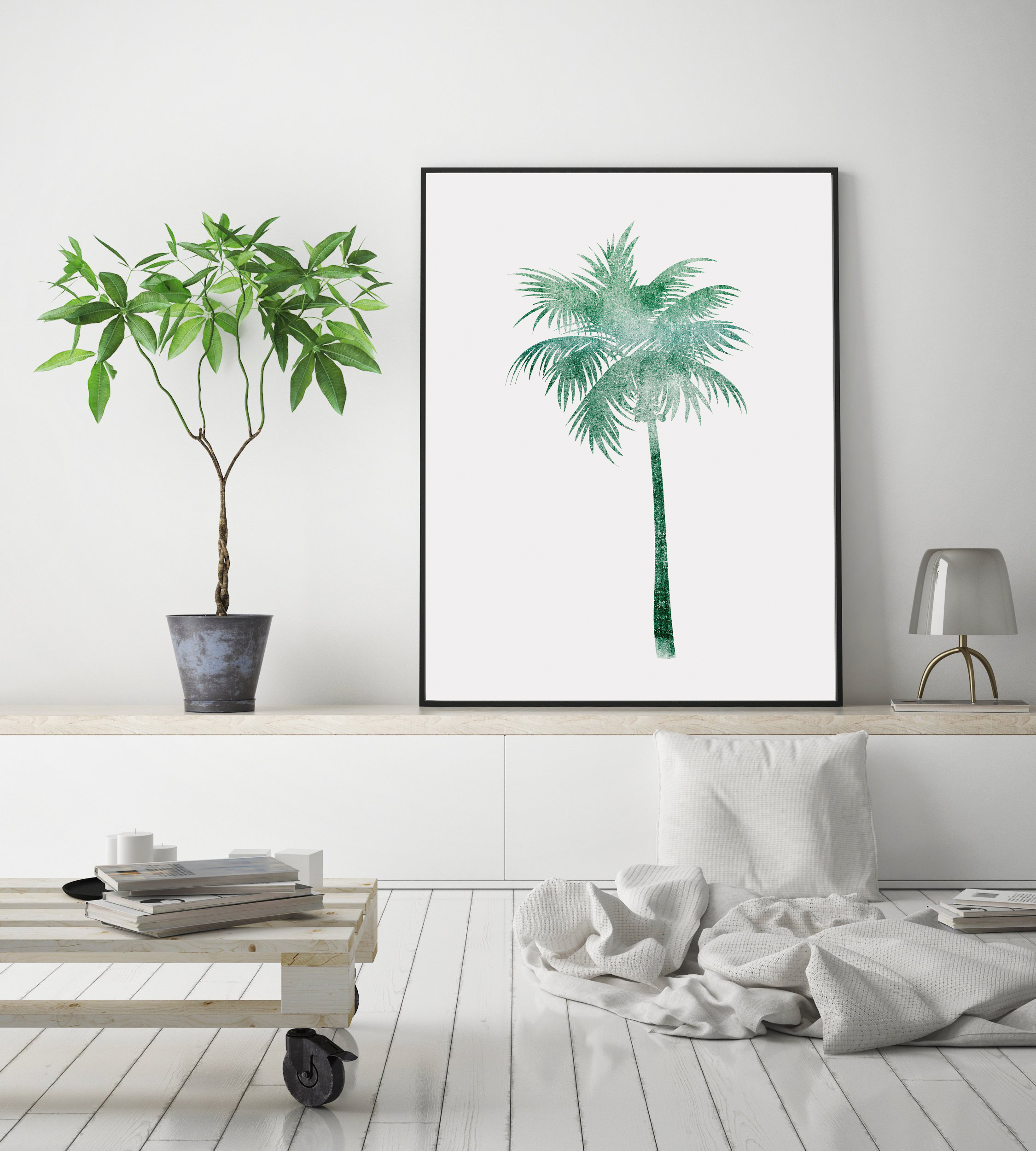 Palm Tree Printable Wall Art, Green Palm Tree Poster example image 3