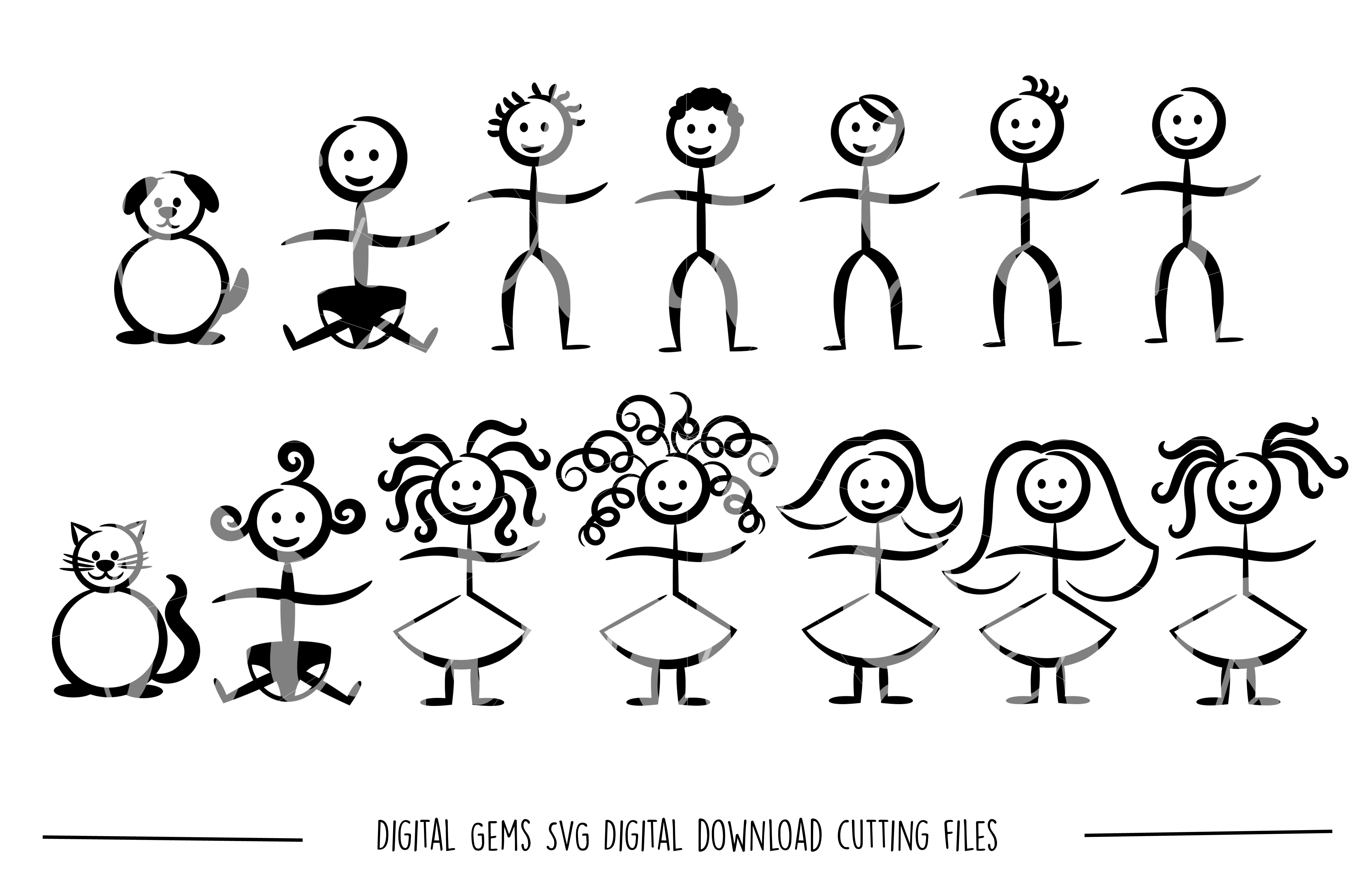 Stick Figure SVG / PNG / EPS / DXF Files example image 1