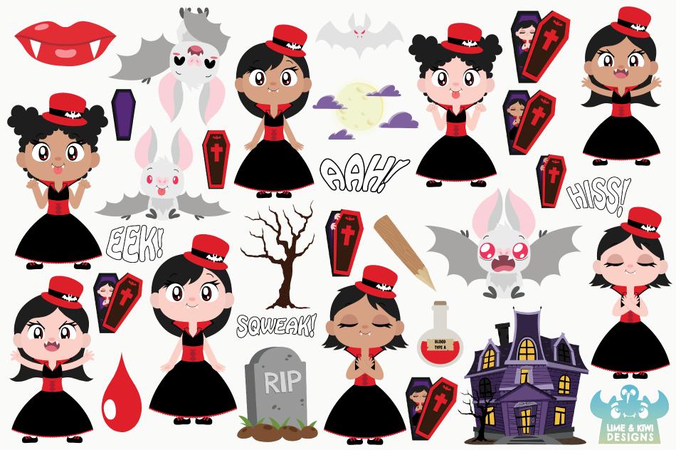 Vampire Girls Clipart, Instant Download Vector Art example image 2