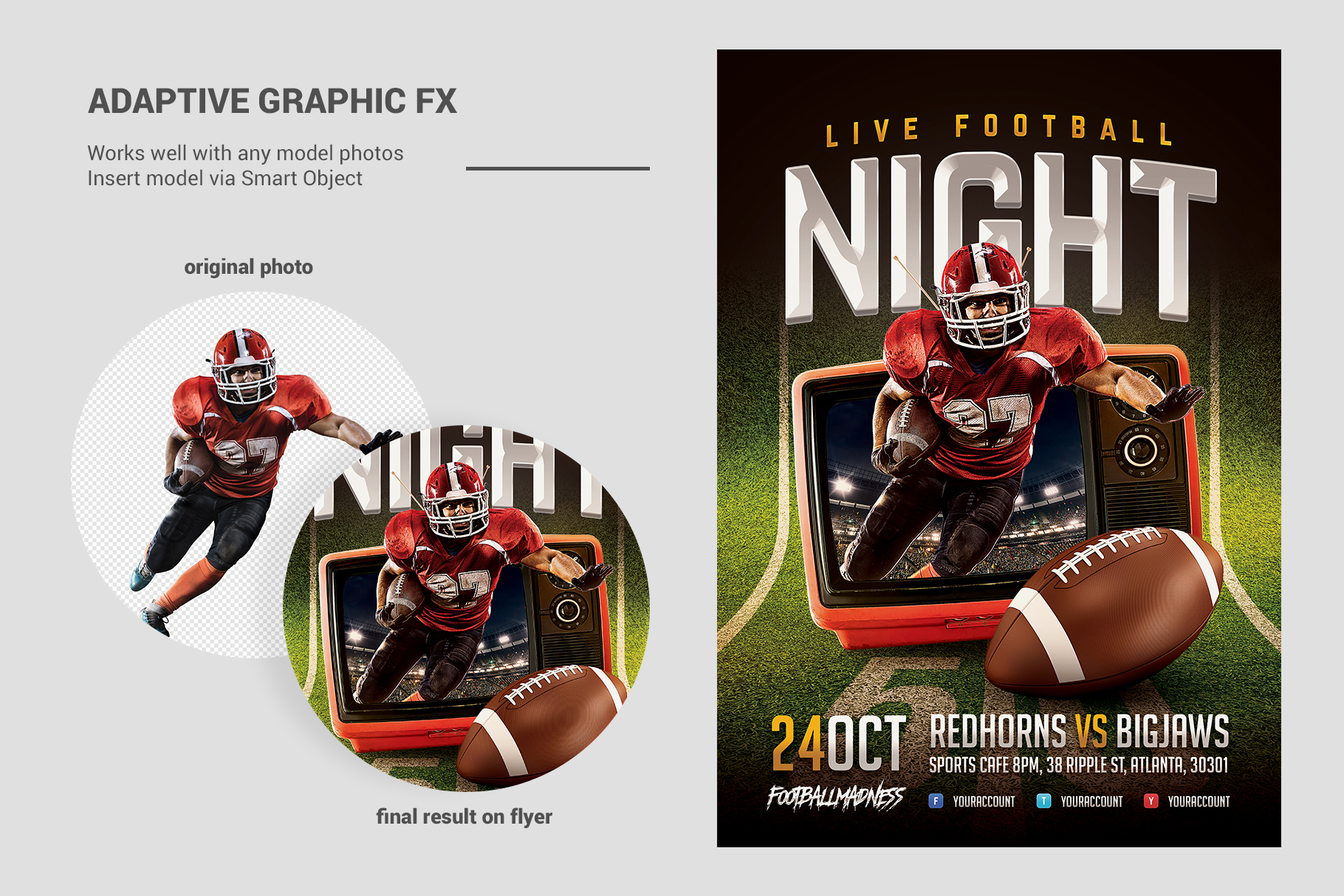 Live Football Flyer Template example image 3